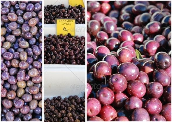 Collage of Greek Olives in Market Place
