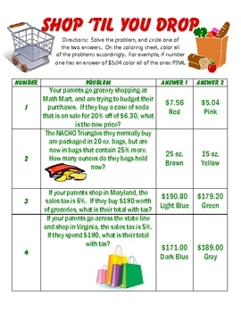 Worksheet Sales Tax Worksheet 1000 ideas about sales tax on pinterest half dollar business this product is a coloring activity that covers percent off of