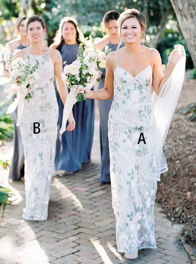 Sheath Spaghetti Straps Sleeveless Floor Length White Floral Bridesmaid Dress Printed Bridesmaid Dresses Floral Bridesmaid Dresses Light Blue Bridesmaid