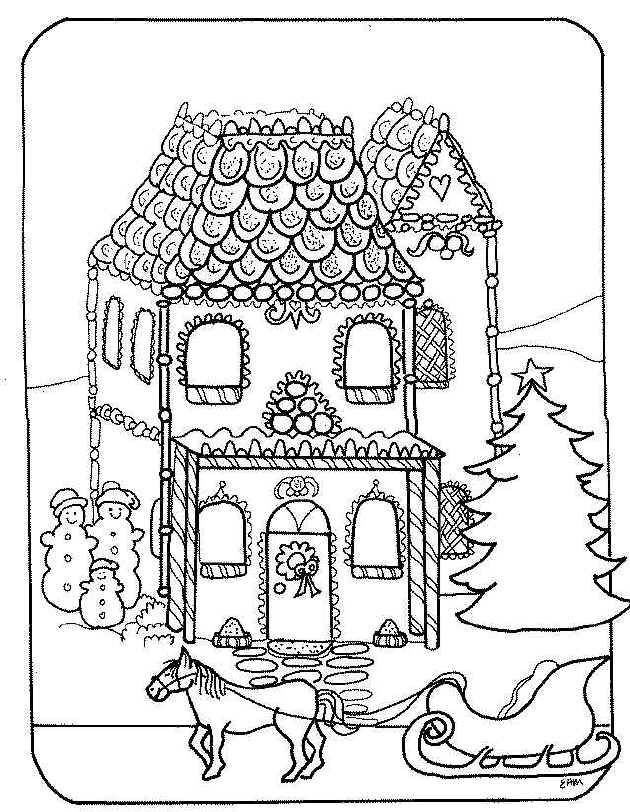 christmas village houses coloring pages - photo#43