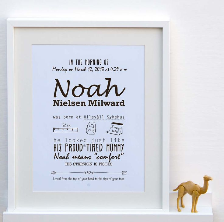 A personalized poster which reflects your child's very special details and birth story in a typographic style. Each item can be adjusted to suit your needs. Excellent as a gift for the newborn's birth, christening or Naming day. Also a beautiful and memorable artwork to hang on a nursery wall!