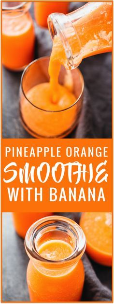 Healthy pineapple smoothie with banana recipe: This pineapple smoothie is made using carrots and fresh fruit such as chopped pineapples and bananas, and is easy to make with only 5 ingredients. This is the ideal breakfast drink if you're looking for a healthy and vegan smoothie recipe. via @savory_tooth