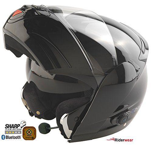Motorradhelm Bluetooth 4 Klapphelm Viper V131 Touring Motorroller Helm Schwarz L