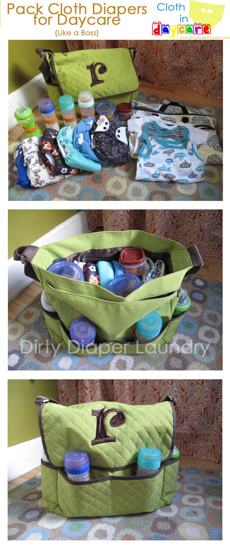 "Our first guest post for ""Cloth in Daycare"" month is from Joedee. She is a self described ""bag-lady"" and gives us a look at how she packs a diaper bag for daycare.           I'm a bag lady. I pack bags inside of bags. On Tuesdays, I carry five bags"