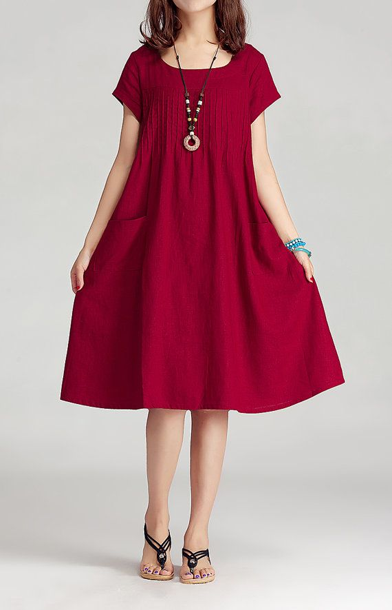 Round Neck Maxi Dress - Summer Dress in Purple- Linen Sundress for Women-Short Sleeved (R)