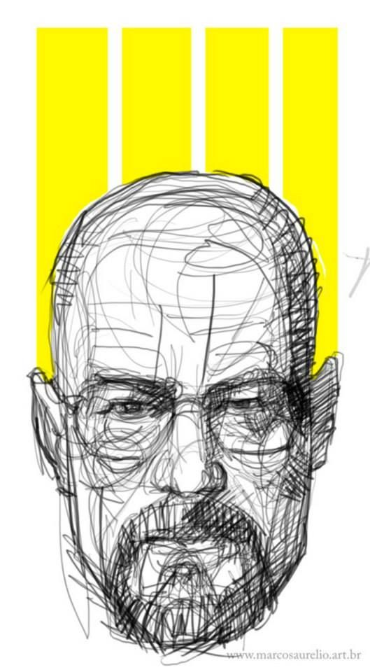 2014 - Marcos Aurelio PopArt Series: I woke up excited and began to sketch Mr Heisenberg for Head version. GIMP Software and my Intuos3(DIY Cintiq mode)