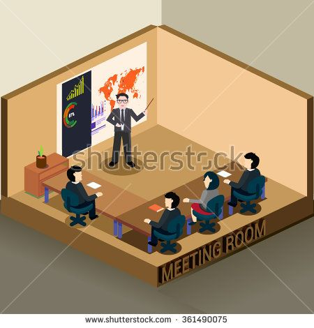 Business meeting and presentation in an office, 3D Isometric office. detailed interior vector illustration.  - stock vector