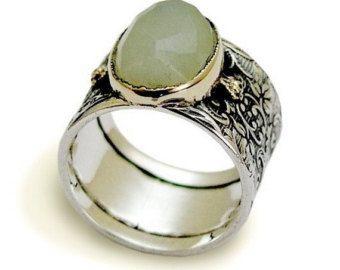 Anillo de Jade gran anillo anillo de plata esterlina anillo