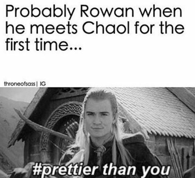 Rowan and Chaol- but he was actually super polite to him I thought there would be more of a conflict? idk