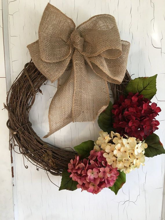 Hydrangea Wreath  Spring Wreath  Valentines Day by GraceMonroeHome