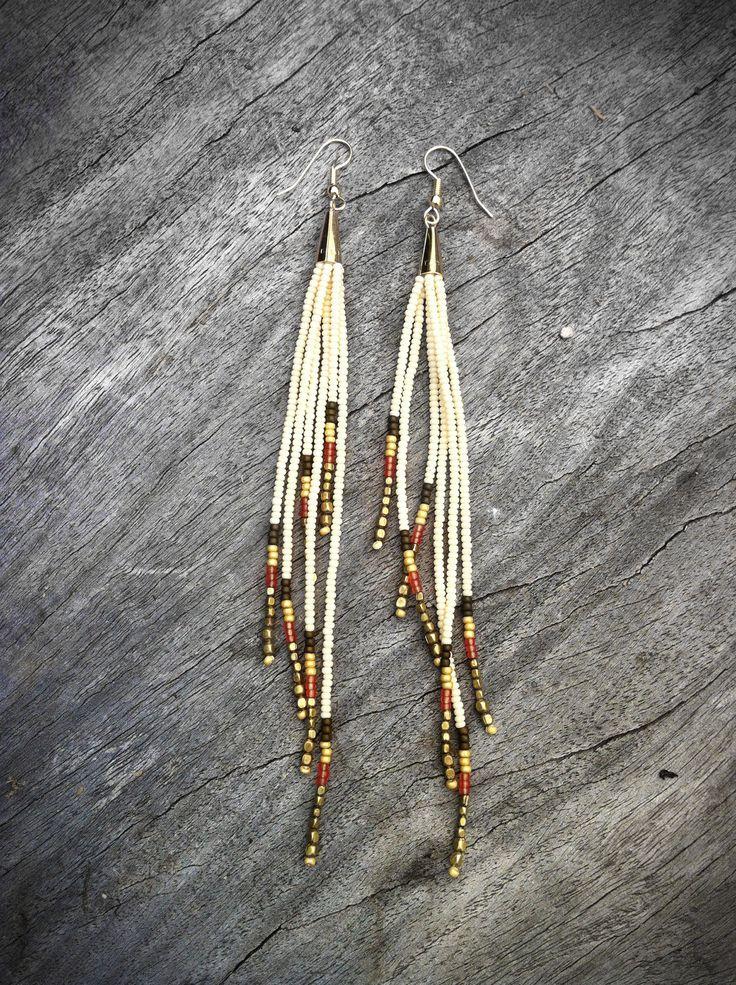Ivory Empress Finge Earrings - Shoulder Dusters - Bronze, Flame, Gold, Cream Seed Bead Earrings, Tribal Jewelry, Boho, Gypsy, Artisan, OOAK. $40.00, via Etsy.