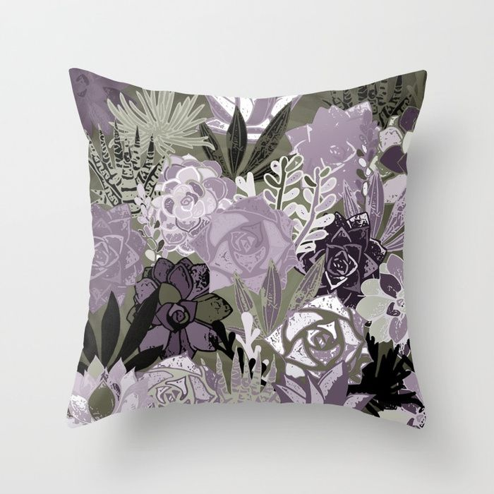 Succulents art. Throw Pillow made from 100% spun polyester poplin fabric, a stylish statement that will liven up any room. Individually cut and sewn by hand, each pillow features a double-sided print and is finished with a concealed zipper for ease of care. #society6 #sboar #succulents #garden #flower #violet #ultraviolet #floral #pillow #pillows #2018