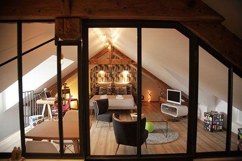 Slaapkamer op zolder bij een Franse B&B   Interieur inrichting