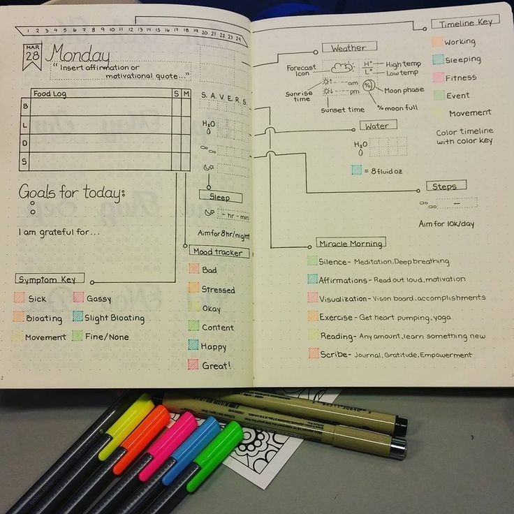 Ideas for Bullet Journal dailies spread from the Bullet Journal Junkies Facebook group.