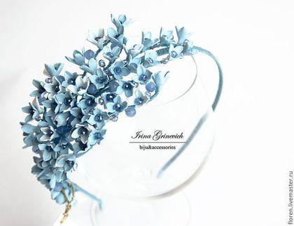 """Ободок """"В облаках"""" - голубой,ободки,Ободки с цветами,голубой ободок,для выпускного бала"""