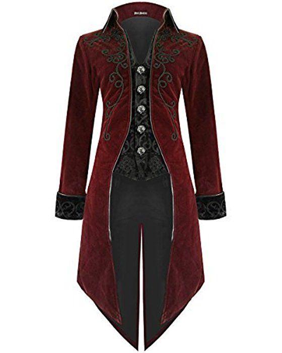 Devil Fashion Herren Frack Jacke Roter Samt Goth Steampunk Aristocrat Regentschaft - Burgunderrot, X-Large