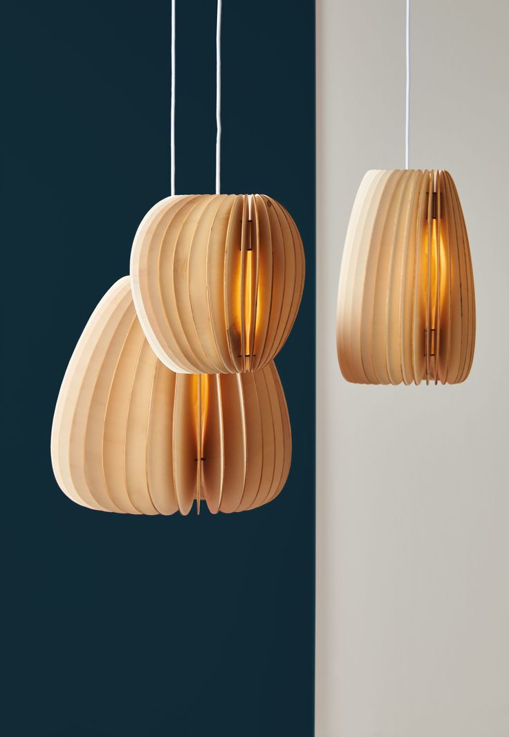 Pricing incl. VAT, excl. shipping  Pirum, Volum and Secundum: Three lamps that stand for naturally warm light.  Despite the organic form the 'Series A' has a graphic and clear line. All  three lights are constructed by the same principles and yet every lamp  still stands out with its own special design and character. The intricate  structure of the lamp allows the light to subtly shine through the thin  wooden slats and cast a glare-free light which creates a natural  ambience.The series A…