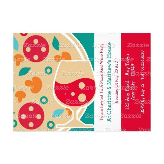 Pizza And Wine Party Custom Italian themed invitations from #Ricaso