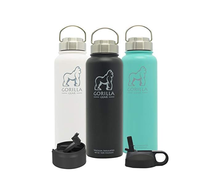 Gorilla Gear Vacuum Insulated 40 Oz Leak Proof Water Bottle Double Walled Stainless Steel Extra Wide Mouth Leak Proof Water Bottle Stainless Bottle Bottle
