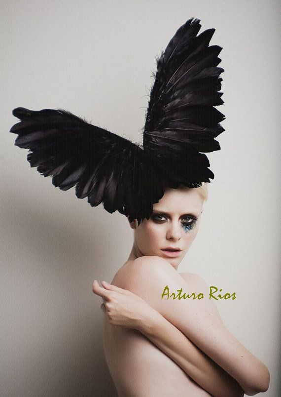 Lady Gaga Black Couture Wings, Fashion Headpiece, Fascinator, Avant garde hat, Derby Hat, Melbourne Cup hats,Black Halloween Hat
