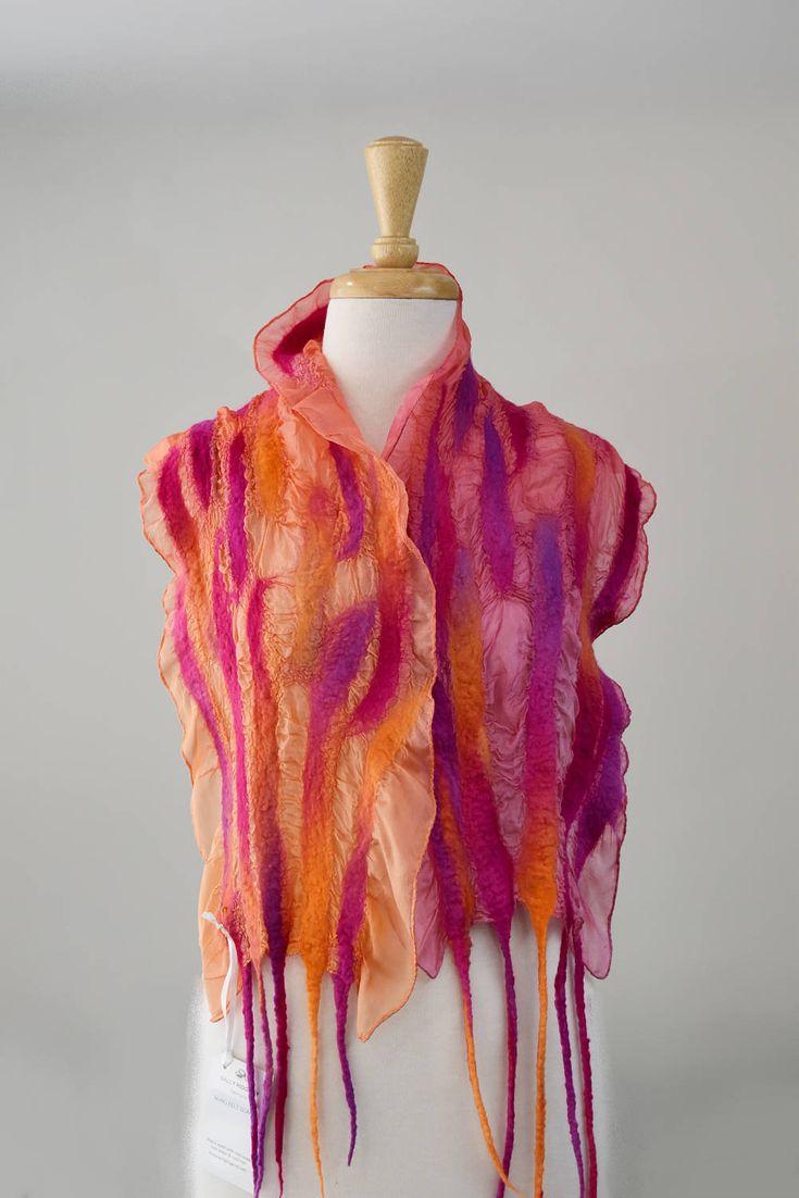 Ladies Nuno Felt Silk & Wool Scarf Shawl Wrap Winter Hand Dyed Wool Scarves Orange Pink Purple 11842 by Feltedfibres on Etsy