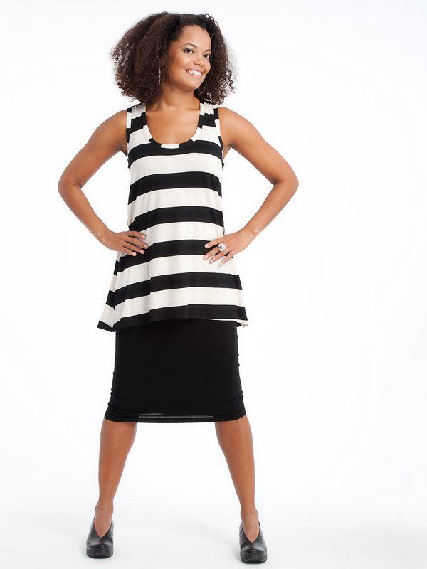 Loose Tank With pencil skirt Fly shoes www.lousjeandbean.ca  #lousjeandbean #stripes #tank #londonfly #pencilskirt #shoplocal #canadianmade Tessa Oort ~ Lousje & Bean