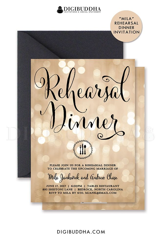 casual evening wedding invitation wording%0A Champagne bokeh and black calligraphy script rehearsal dinner invitations  with sparkly twinkling lights and chic black