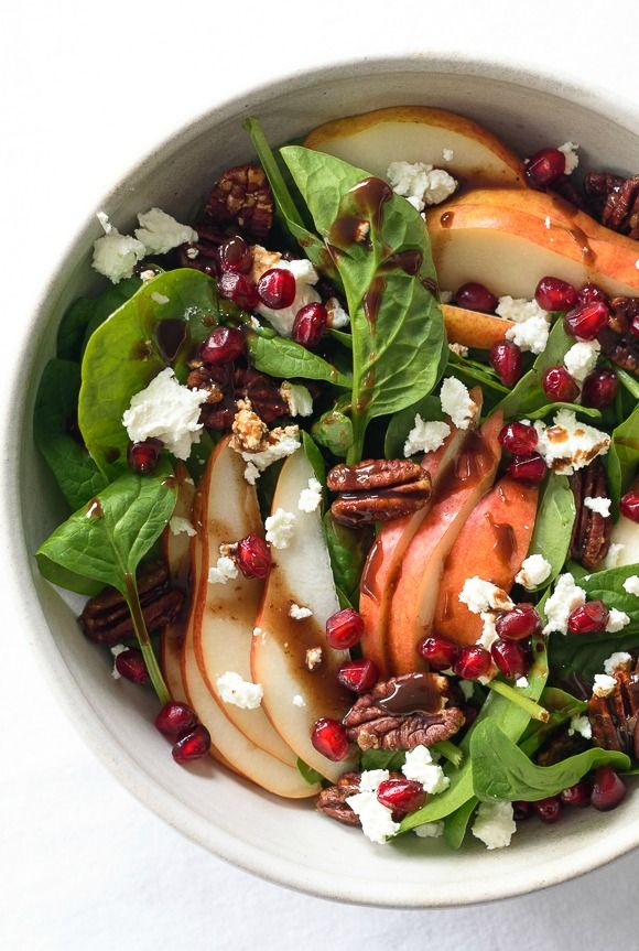Celebrate your favorite fresh, seasonal flavors and create this healthy spinach, pear and pomegranate salad.