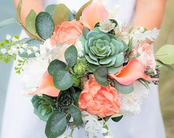 Coral Peach Succulent Wedding Bouquet Silk Real Touch Wedding