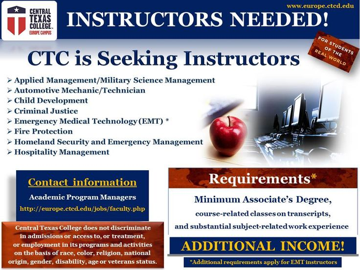 Central Texas College (CTC) is seeking instructors