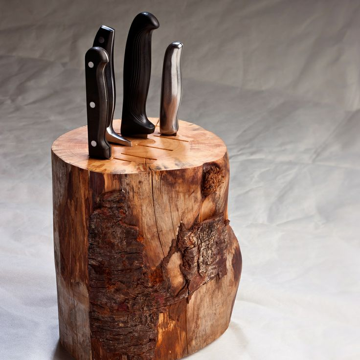 These knife blocks are made from a range of different salvaged logs. While the Log Knife Block does not come with knives, a selection of different sized slots has been cut into the logs in order to accommodate a range of knives. Each knife block has been handmade and designed in Tasmania.Other information:Dimensions are 250mm x 150mm (Size varies due to the nature of material).International enquiries please contact info@duncanmeerding.com.au