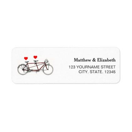 Vintage Cute Tandem Bicycle Wedding Return Address Label - romantic wedding love couple marriage wedding preparations