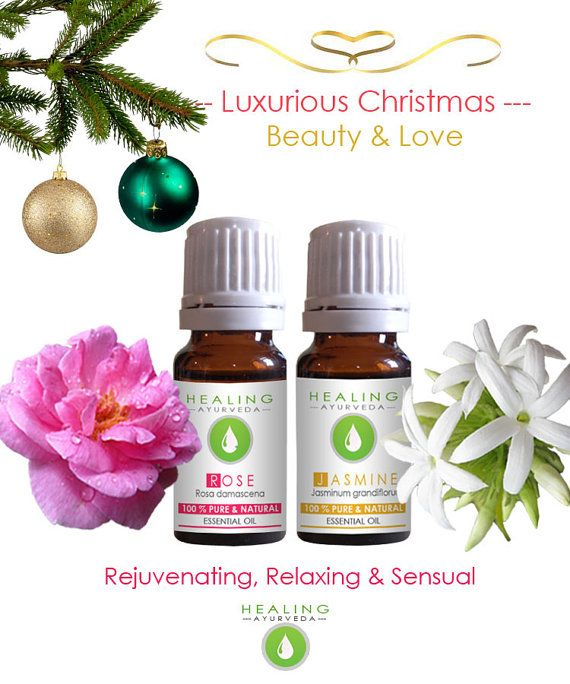 Pure essential oils set, Rose and Jasmine oil-Sensual beauty oils set Pure Rose & Jasmine