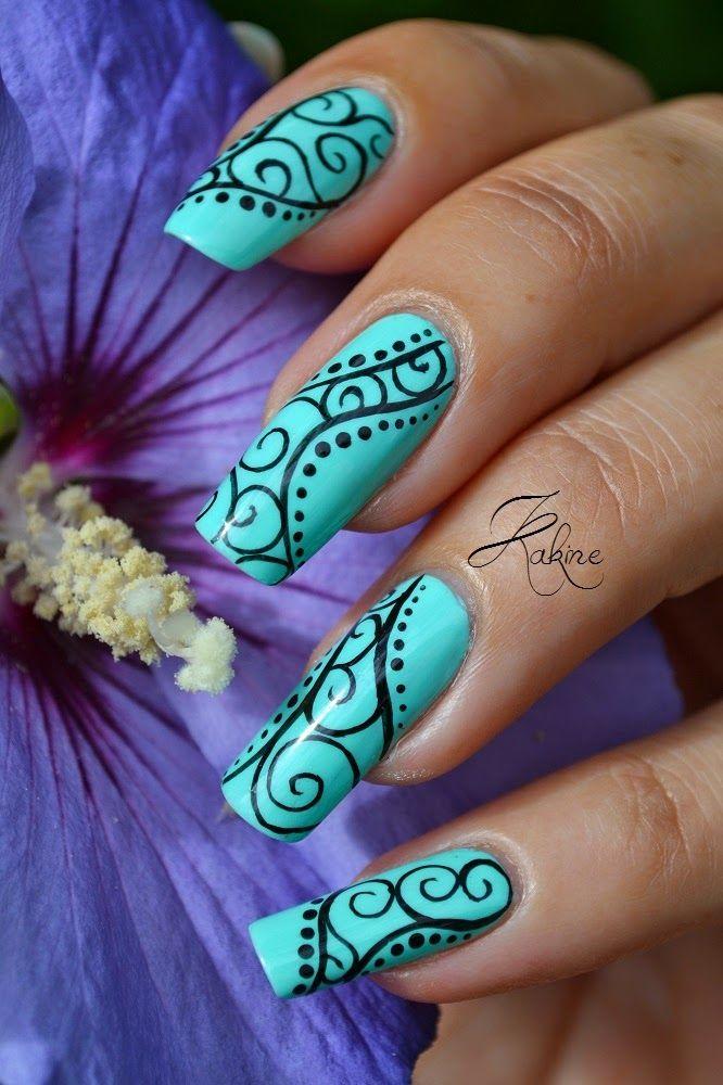 Arabesque Tiffany Blue and Black Nail Art.