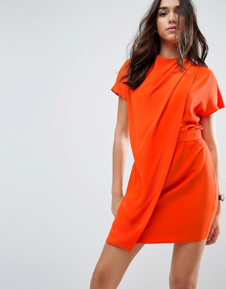 ASOS Drape Front Tab Side Mini Dress - Orange