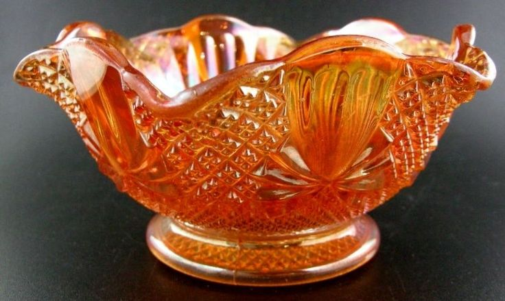 Marigold Carnival Glass Sowerby Pattern Pineapple Bows Bowl Dish Ruffle Edge Sowerby Carnival