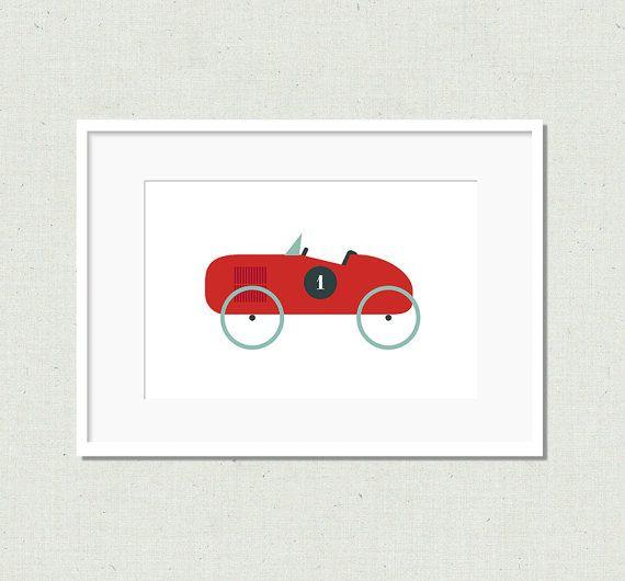 Modern toy car prints vintage car nursery decor by littleladyworks, $5.00