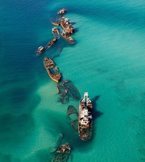 Tangalooma Wrecks, Moreton Bay, Queensland, Australia - Fifteen vessels have been deliberately sunk on the landward side of Moreton Island to form a breakwall for small boats and a wreck dive and snorkel site. The Tangalooma Wrecks provide good diving in depths from 2-10m. Even in this shallow water, the wrecks attract an amazing amount of marine life, including wobbegongs, trevally, kingfish, yellow tail and lots of tropical fish.