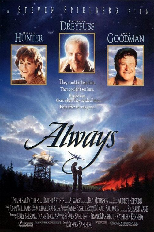 """""""Always"""" (1989) <3 holly hunter. Audrey's last appearance in film and LOVE smoke gets in your eyes....."""