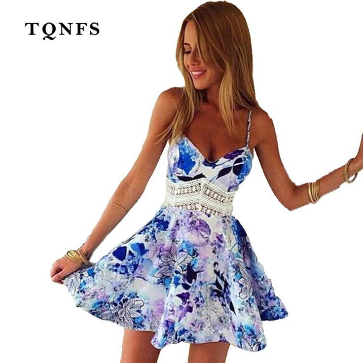TQNFS Hollow Out Backless 2017 Print Dress Women Vintage Casual Summer Dress Beach Party Short Dresses Casual Purple Vestidos