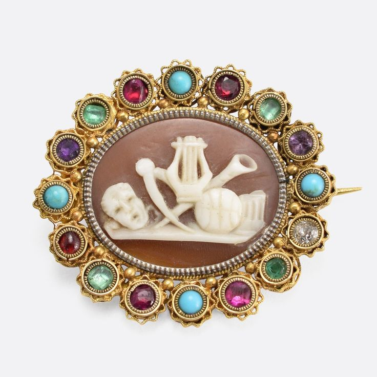 """Regency Period Harlequin """"Classical Muses"""" Cameo Brooch                      – Butter Lane Antiques"""
