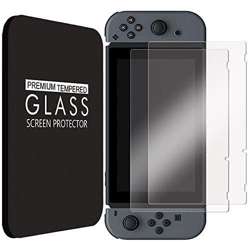 [2-Pack] Nintendo Switch Tempered Glass Screen Protector by Fintie - Anti Scratch Premium HD Clear 9H Hardness Protective Oleophobic Screen Protector for Nintendo Switch 2017