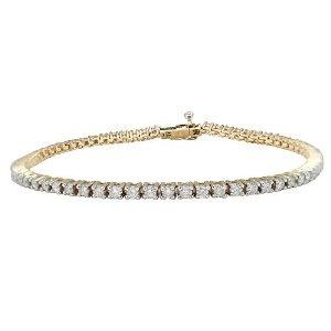 14k Yellow Gold Diamond 4-Prong Tennis Bracelet (2 cttw, H-I Color, I1-I2 Clarity), 8''