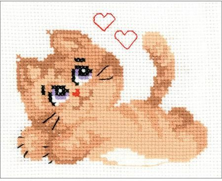 Riolis Pussycat - Cross Stitch Kit. Cross stitch kit featuring a cat with hearts. This cross stitch kit contains 10 count white Aida Zweigart fabric, Safil wool