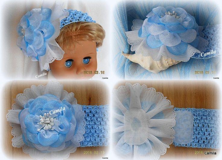 """""""Голубое облачко"""" для особых принцесс- с голубыми глазками.   Повязка,для девочки,весна,голубой,небо,аксессуар для волос,фотосессия,handmade/"""