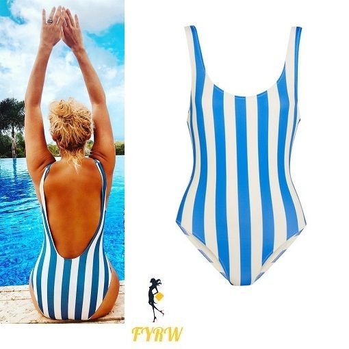 Holly Willoughby outfit blue and white one piece swimsuit poolside January 2018