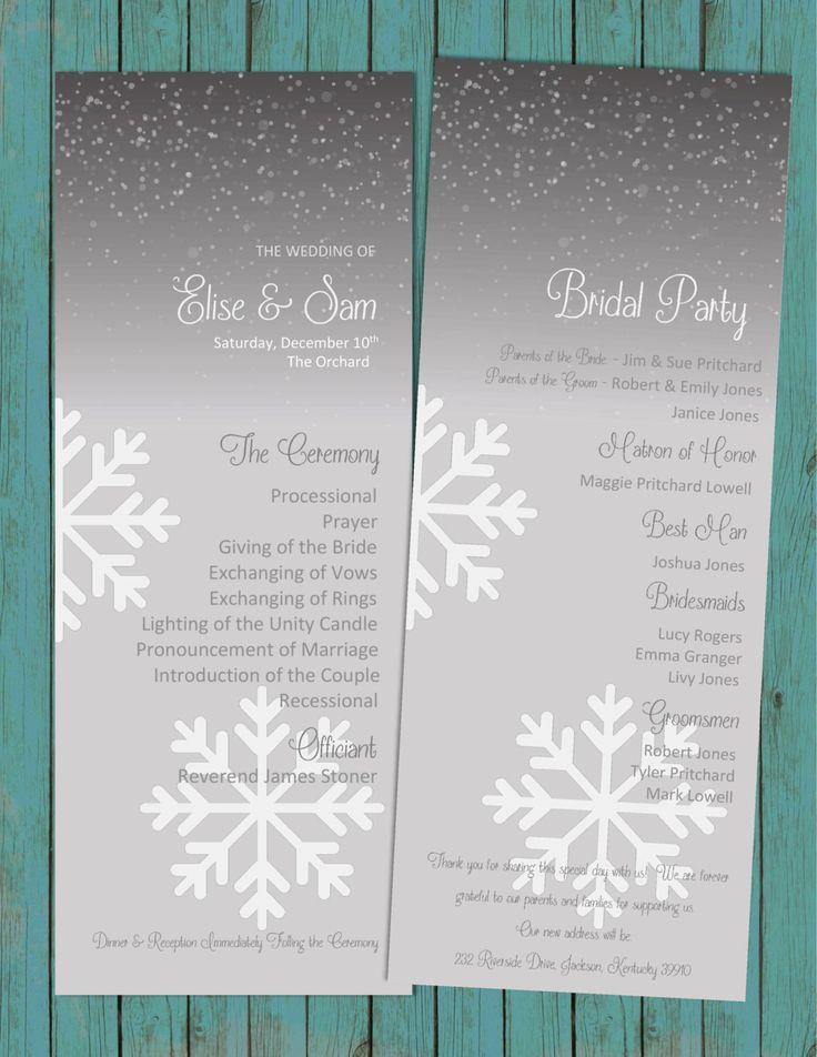DIY Printable Elegant WINTER Wedding Program Snowflakes Wedding Programs for a Winter Wedding White and Black by PerfectedbyGrace on Etsy