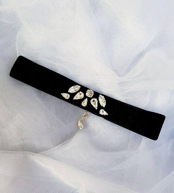 Check out this item in my Etsy shop https://www.etsy.com/listing/547575202/crystal-black-velvet-choker-rhinestone
