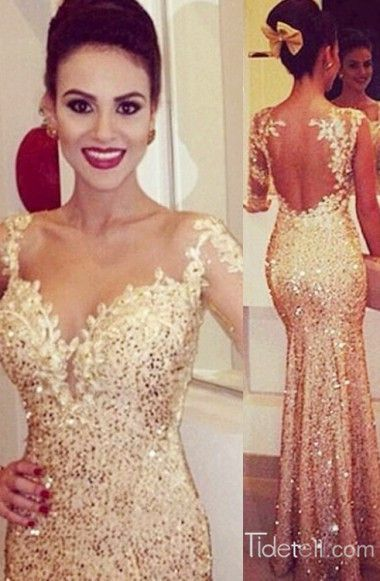 prom dress, 2016 prom dress, gold mermaid prom dress, long prom dress, floor length prom dress, prom dress with one-shoulder, party dress, evening dress, gorgeous prom dress