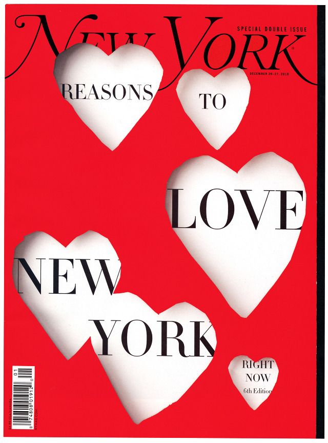 Cover for New York Magazine's Reasons to Love New York issue by John Gall #blackandred #stagedphotograph